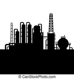refinería, planta, aceite, silueta, fábrica, químico,...