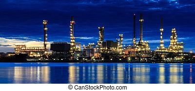 refinería, planta, crepúsculo, área
