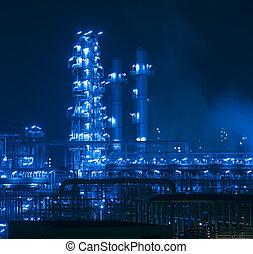 refinería, planta industrial, con, industria, caldera, por la noche