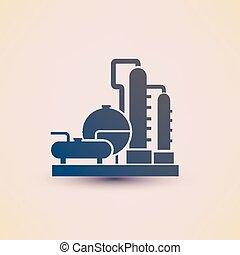 refinería, planta, producto petroquímico, símbolo