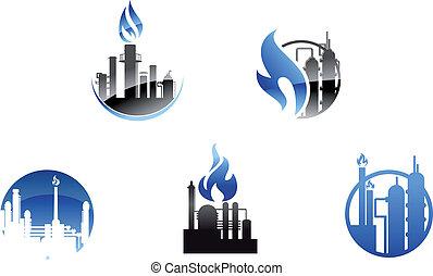 refinería, símbolos, fábrica, iconos