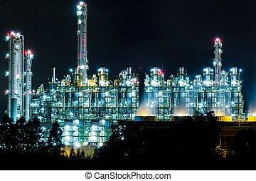 refinería, tailandia, aceite, rayong, noche