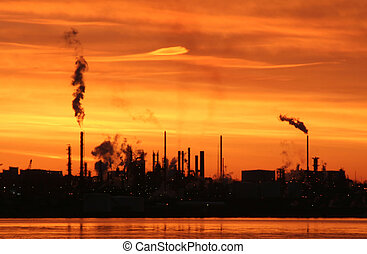 Refinery at Dawn - A silhouette of a refinery in Dartmouth,...