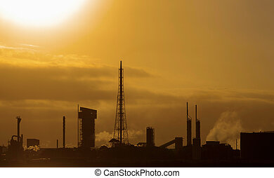 Refinery at sunset
