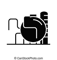 Refinery black icon, concept illustration, vector flat symbol, glyph sign.