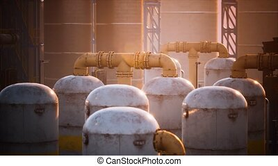 Refinery factory with oil storage tanks