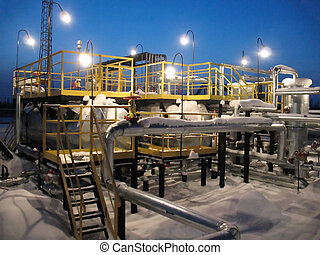 Refinery - Oil refinery center. Work of oil industry