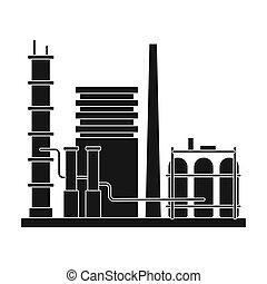 Refinery. Oil single icon in black style vector symbol stock illustration web.