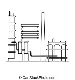 Refinery. Oil single icon in outline style vector symbol stock illustration web.
