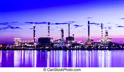 Refinery plant area at twilight