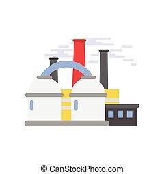 Refinery plant, industrial building vector illustration
