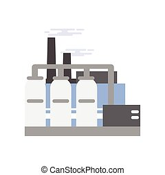 Refinery plant, industrial manufactory building vector illustration