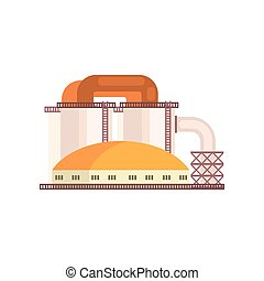 Refinery plant, industrial manufactury building vector illustration