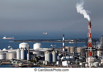 Refinery plant - Industrial plant with smoke stacks