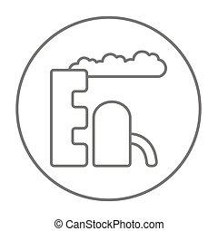 Refinery plant line icon.