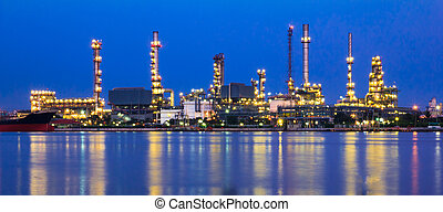 Refinery plant at twilight time