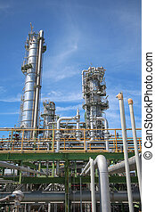 Refinery tower in industrial plant