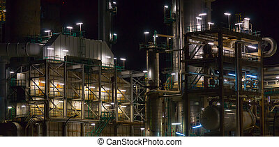 Refining plant at night industrial background