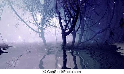 reflété, brumeux, arbres, neiger, eau
