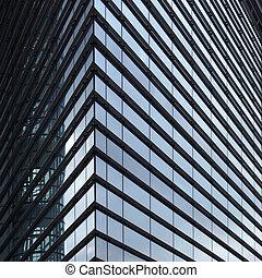 reflété, entourer, bâtiment bureau, détail, fin, rangées, ...