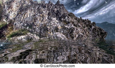 reflété, montagne rocheuse, sur, neiger, eau