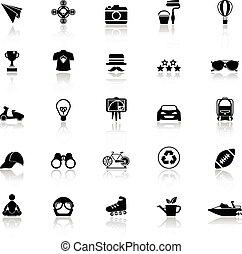 refléter, blanc, hipster, fond, icônes