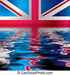 refléter, drapeau, britannique