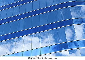 refléter, fenêtre verre, nuage ciel