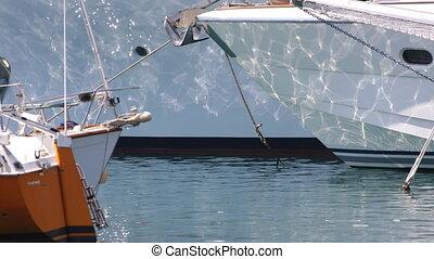 refléter, luxe, lumière soleil, yachts