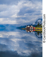 Reflecion on a fjord in Norway