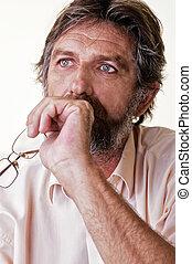 reflected elderly man on a light background