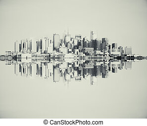 Reflected grey cityscape - Reflected abstract grey cityscape...