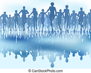 Editable vector illustration of a large group of people running with reflections