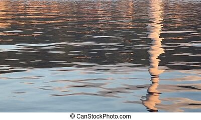reflected smoke stack - reflected of factory smoke stack...