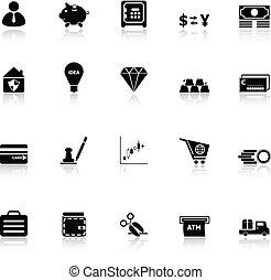 reflecteren, geld, witte achtergrond, iconen