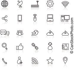 reflecteren, lijn, witte , netwerk, iconen