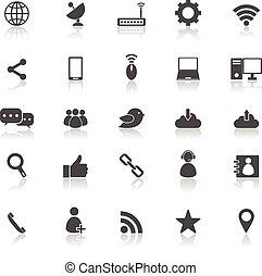 reflecteren, witte , netwerk, achtergrond, iconen