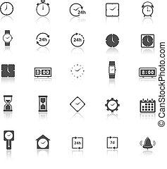 reflecteren, witte , tijd, achtergrond, iconen