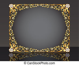 reflectie, model, goud, frame