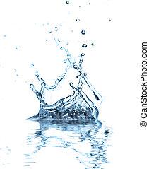 reflectie, vrijstaand, water, gespetter, achtergrond, witte