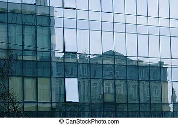 reflecting in business center mirror windows