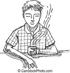 Reflecting man drinking coffee