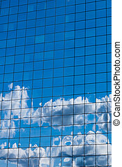 sky in glass of office building