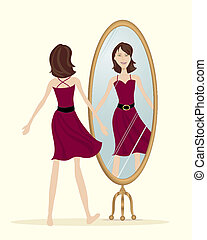 an illustration of a woman looking in the mirror wearing a new red dress on a cream color background