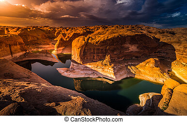 Wide angle Reflection Canyon at Sunset Lake Powell Utah