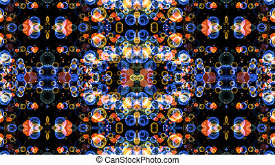 reflection dark abstract dimension rainbow bubbles with dancing hearts floating on black background
