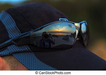 Reflection Generals beach and Sea of Azov in sunglasses....