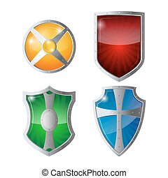 Reflection glossy green, orange, blue, yellow red shields with emblems