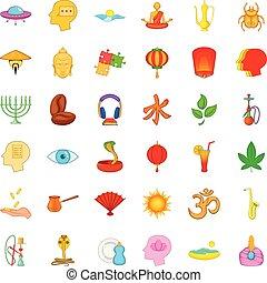 Reflection icons set, cartoon style
