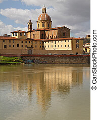 reflection in Arno river of San Frediano church in Cestello...